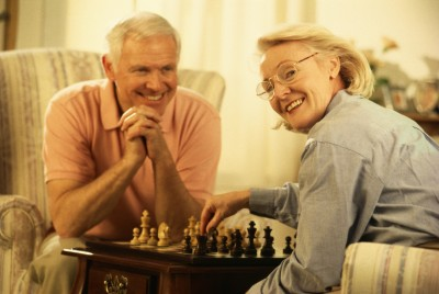 senior couple with a chess game